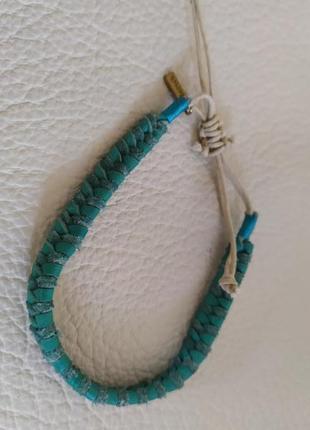 Кожаный бирюзовый браслет