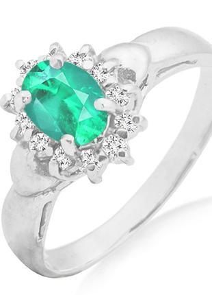 Золотое кольцо с изумрудом и бриллиантами 0,14 карат 16,5 мм. белое золото. новое