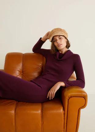 Теплое платье от mango р. l в бордовых тонах