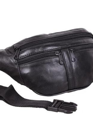 Мужская кожаная бананка, поясная сумка из натуралой кожи