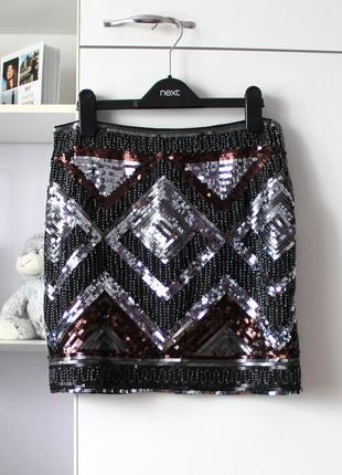 Нарядная юбка в паетки от h&m, юбка на новый год