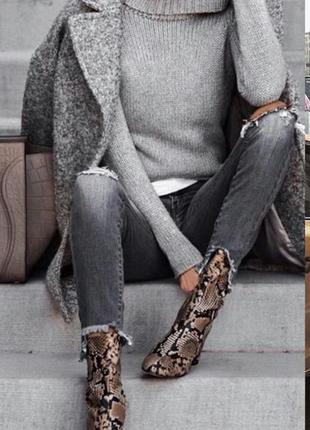 Стильные модные идеальные  ботинки,полусапожки,на каблуке в змеиный принт экокожа