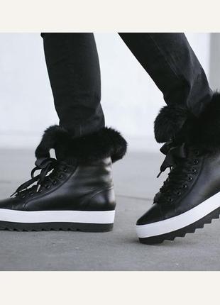 Ботинки кожаные утеплённые стильные hogl размер 38