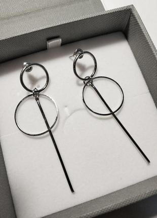 Стильные серьги кольца, серебристые