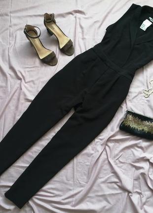 Черный классический брючный комбинезон на запах ромпер h&m комбінезон костюм штаны брюки