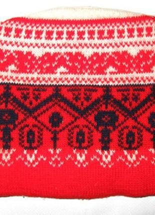Шапка (на голову 55-58 см) шерсть ламы с винтажным узором италия