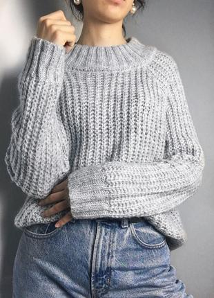 Серый свитер мохер/шерсть
