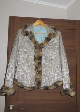 Гламурная женская куртка, жакет blumarine, м, мех шиншилла, оригинал