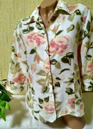 Красивая блуза ,рубашка в цветы 60% лен ,40% коттон