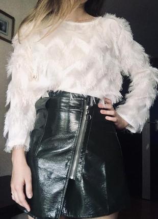 ⛔✅ ассиметричная юбка на запах с замочком лак