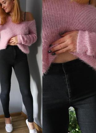 ♥️графитовые джинсы скинни с высокой посадкой