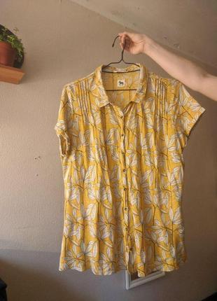 Желтая рубашка в растительный принт из льна white stuff