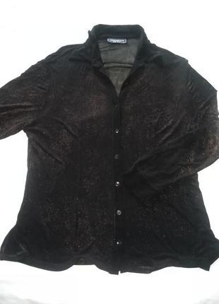 Чёрная блуза parantez с бронзовым отливом big size