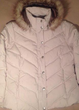 Пуховик marks and spencer бежевый молочный зимний куртка на пуху