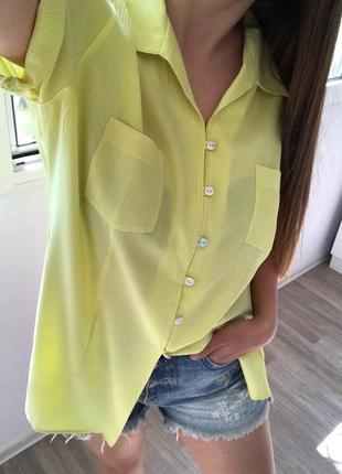 Ликвидация лета 🔥 летняя сочная удлинённая лимонная рубашка от bonita