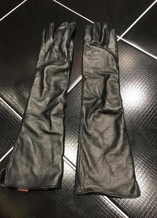 Женские кожаные перчатки по локоть 45 см 7размер