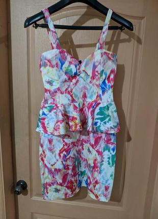 Платье летнее с баской цветное разноцветное сарафан