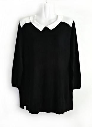 Трикотажная черная блуза с белым воротником р.16