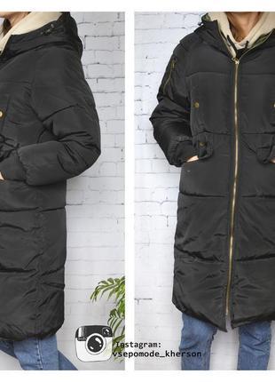 Черная длинная куртка пуховик с капюшоном карманами до колен деми зима пальто теплое дутое