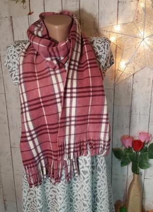 Новый стильный клетчатый флисовый шарф шарфик в клетку