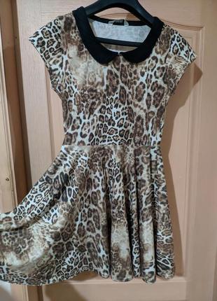 Тигровое трикотажное платье леопардовое