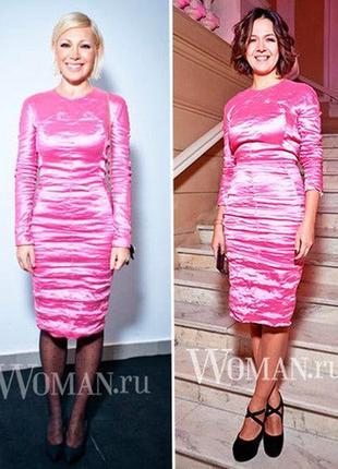 Вечернее платье фольга carven металлик оригинал розовое xs-s