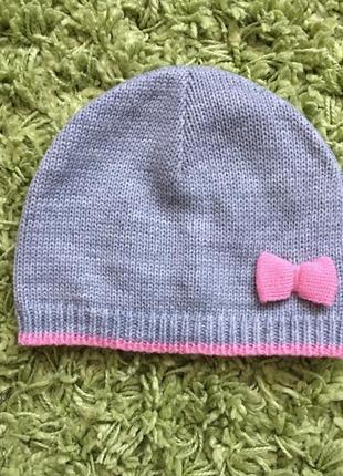 Демисезонная шапка для девочки 1-3 года