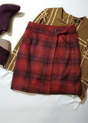 Теплая юбка в клетку на запах в составе шерсть р.10