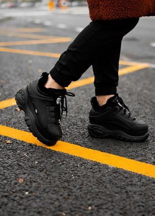 😊buffalo london black fure🤗 женские зимние кроссовки с мехом чёрные зима