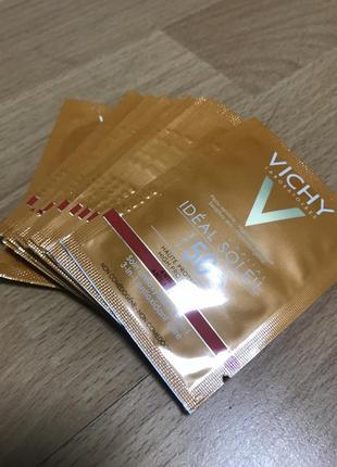 Антивозрастной солнцезащитный крем vichy spf50 ideal soleil набор саше