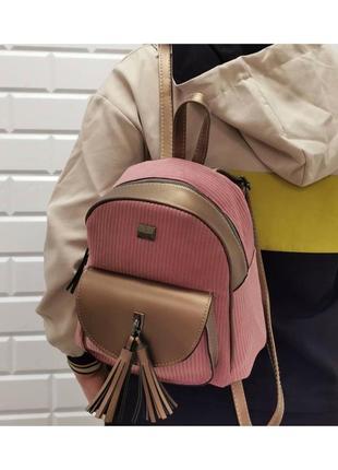 Рюкзак вельветовый розовый женский / жіночий