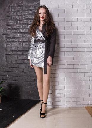 Двухцветный платье-пиджак