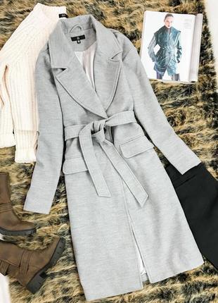 Базовое пальто серого цвета под пояс  ov 1941043  missguided