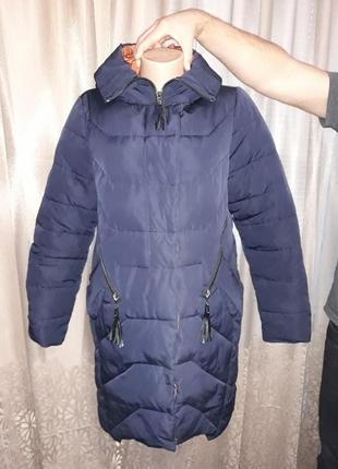 Шикарное теплое пуховое пальто peercat! размерl- xl.
