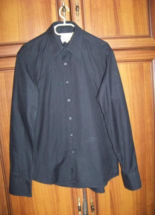 Черная плотная котоновая рубашка blend размер l