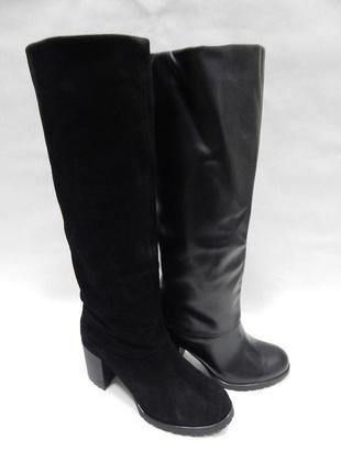 Зимние женские сапоги на устойчивом каблуке valiente venison кожа,замша
