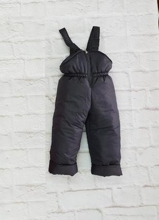 Зимние штаны комбинезон, серый полукомбинезон тёплый. на рост от 80 до 146 см