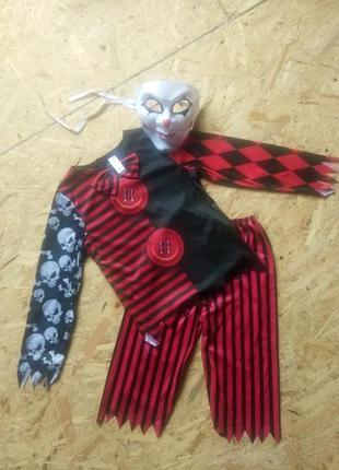 Карнавальный костюм шут арлекин клоун 7-8 лет