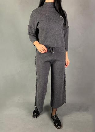 Тёплый костюм свитер кюлоты шерсть.