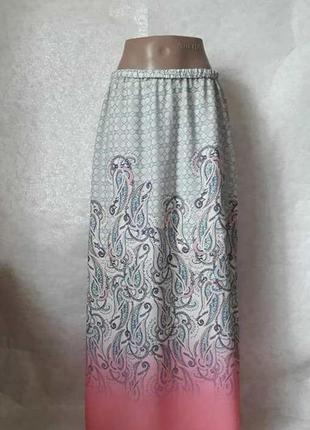 Фирменная charles voegele шифоновая юбка в пол в красивейший етно орнамент, размер л-ка