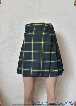 Новая мини юбка на запах в крёпную клетку на половину плесированка, размер ххс-хс