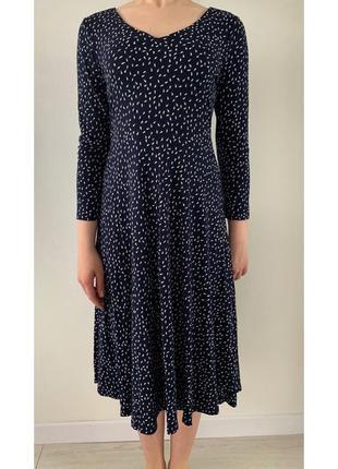 Плаття, довга сукня, синя сукня нище коліна, платье миди.