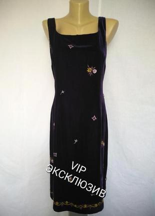 Ann taylor роскошное дизайнерское платье бархат вышивка