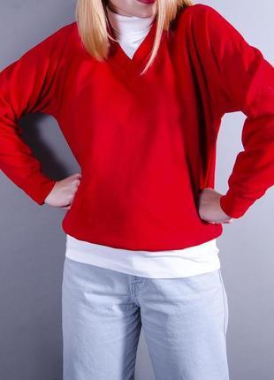 Красный свитер, объемный свитер, свободный пуловер, теплый свитер