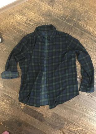 Классная рубашка шифоновая темно зеленая в клетку клеточку для фотосессии новогодней