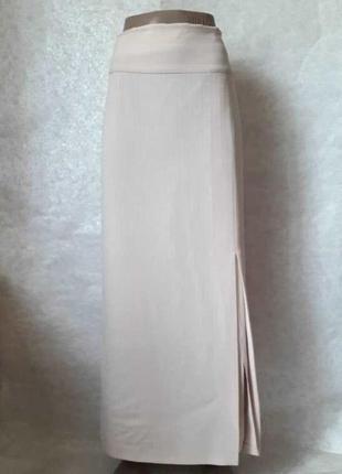 Новая шикарная стильная нарядная юбка в пол с разрезами цвета беж, размер 3хл