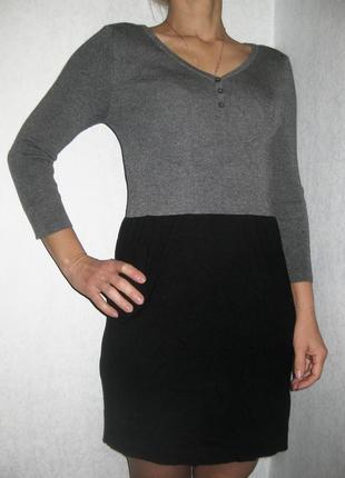 Повседневное платье mango серое чёрное обтягивающее трикотаж четверной рукав
