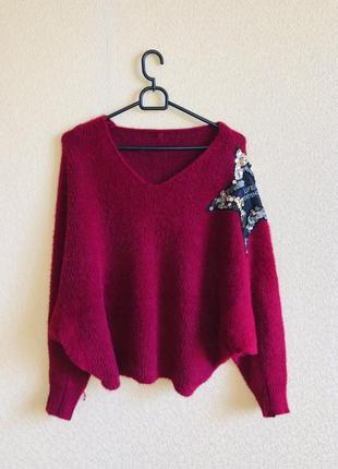 Тёплый свободный свитер бордовый бордо марсала травка летучая мышь
