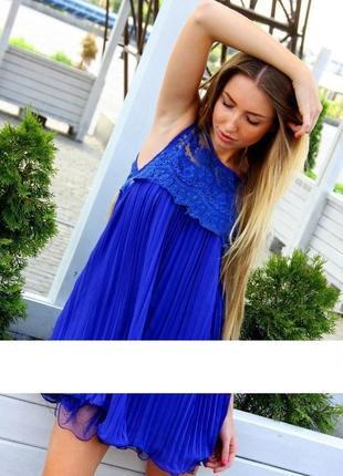 ✅воздушное шифоновое платье плисе гипюр вышитый волан пышный сетка