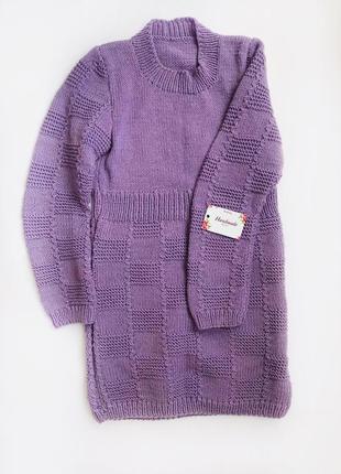 Вязаное платье-туника ручной работы